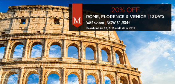20% Off - Rome, Florence, Venice - now $1,904+