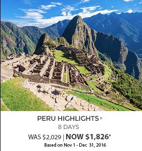 Peru Highlights - 8 days now 1,826*